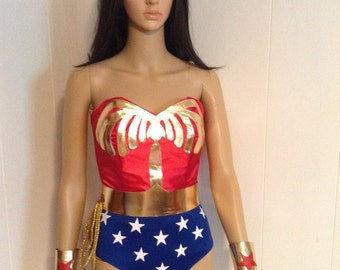 Custom Made Wonder Woman Costume WITHOUT cape.  High quality satin and leather for cosplay or Halloween.