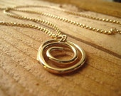 Gold Swirl Necklace, 14k Gold Fill Wire, Rolo Chain, Hand Forged, Organic Shape, Golden Pendant, Swirl Pendant 14k GF Chain candies64