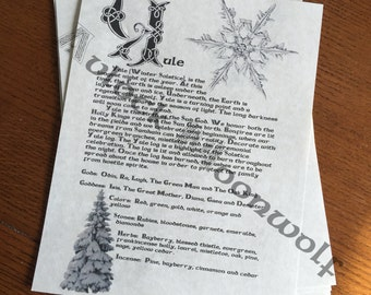 Yule Book of Shadows, Grimoire Printable Page