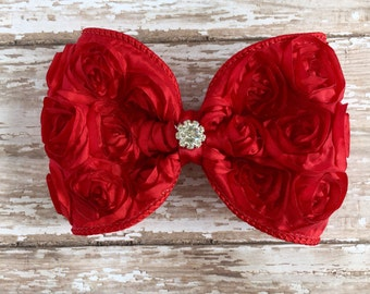 Red Bow, Red Rosette Bow Hair Clip, Satin Ribbon Hair Bow, Valentine's Day, Christmas, Flower Girl Hair Bow, Little Girl Hair Bow, Birthday