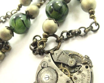 Dragon Veins... Steampunk Dragon Vein Bead and Antique Watch Movement One of a Kind Creation
