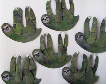 Hanging Mossy Sloth / Articulated Decoration  / Hinged Beasts Series