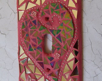 Mosaic Light Switch Cover - Red Heart With Flowers & Butterfly