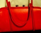Vintage Bright Orange Two Section Purse, Double Snap Closure, Short Handle, Pocket Book, Handbag