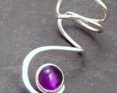 AMETHYST Silver EAR CUFF -  Sterling Silver Swirl Ear Wrap