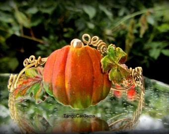 Harvest Season Pumpkin with Carnelian Gemstone Bracelet
