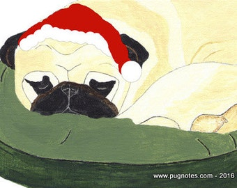 Holiday Pug Cards - Sleeping Fawn Pug waiting for Santa