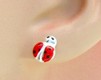Sterling Silver Earrings Enamel Red Ladybug Ear Studs no. 3491
