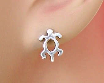 Earrings Petroglyph Turtle Sterling Silver Minimal Ear Studs no. 3492