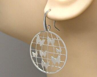 Earrings Butterfly World Sterling Silver Laser Cut Ear Wires no. 3550