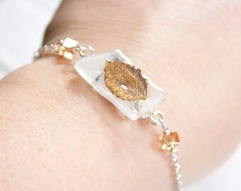 Topaz Aspen Leaf Recycled Glass Bracelet, Nature Jewelry