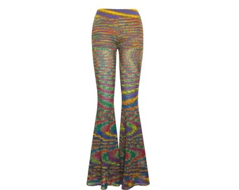 Size M Crochet Pants - Bell Bottoms in Double Rainbow - Handmade- Flared Leggings - Free US Shipping