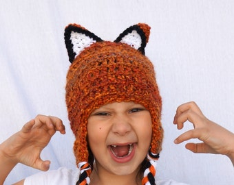 Crochet Fox Hat - Woodland Costume, Orange Fox Hat, Sly Fox with Ears, Wild Fire Orange