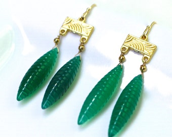 Hand Carved Green Onyx Double Drop Earrings in Gold...