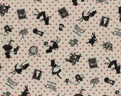 HALF YARD Lecien - Girl's Story 40576-10- Alice in Wonderland Mix with Fleur de Lis on NATURAL -  White Rabbit, Queen of Hearts Bows