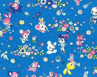 HALF YARD Honey Tune - Outdoor Playtime on BLUE 40568-70 - Bicycle, Garden, Music, Bunny, Deer, Squirrel, Cat, Hearts - Lecien - Japanese