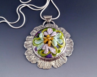 Floral Lampwork Cabochon in Sterling Silver Pendant