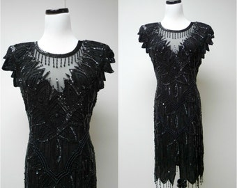 SCALA . black silk beaded dress . large