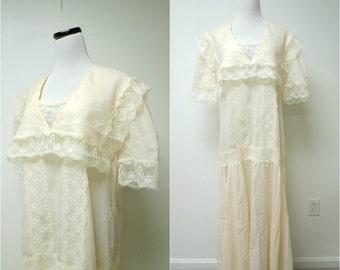 "light peach . lace trim . sheer dress . 1920s style . bust 44"""