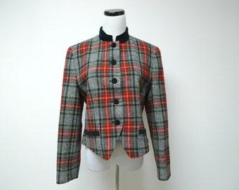 PENDLETON wool plaid jacket . size 12 petite . made in USA