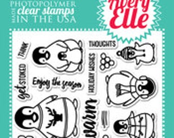 Avery Elle Clear Photopolymer Rubber Stamp Set - penguin greetings