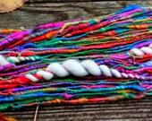 Handspun Art Yarn- Rainbow Connection- Signature Jazztutle TextureSpun Artisan Yarn