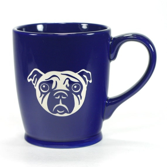 Pug Dog Mug - Navy Blue - large sad dog coffee cup