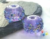 Lampwork Beads Lavender Batik Blossom Mix Pair