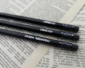 Harry Potter Hogwarts Unforgivable Curses Hand Stamped Pencils - Set of 3 FEATURED IN COSMOPOLITAN
