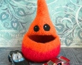 Felted Wool  Whatnot/Ring  Bowl, Hiding Place,  Desk Accessory, Nom Nom Norm, Handmade, Red,  Orange