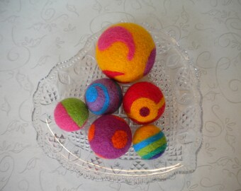 Needle Felted, Wool, Fidget,  Balls, Set of 6, Handmade, Decor, Beads