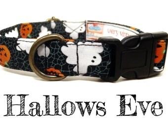 "Ghost Pumpkin Halloween Dog Collar - Organic Cotton - Antique Brass Hardware - ""Hallows Eve"""