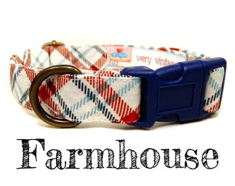 "Cream Red Navy Blue Green Plaid Dog Collar - Preppy Boy Dog Collar - Organic Cotton - Antique Brass Hardware - ""Farmhouse"""