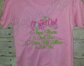 Flower Girl Premade ready to ship 3T pink with green pink t-shirt