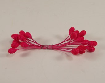 Vintage Bright Hot Pink Glass Beaded Stamens Weddings Corsages Dolls Crafts Fascinators Flower Making Crowns Double End