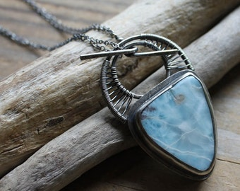 Larimar Amulet - Woven Sterling Silver Pendant - Artisan Made - Unique - One of a Kind