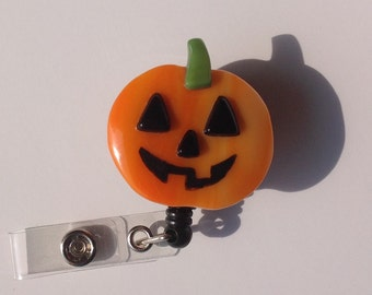 Pumpkin Retractable Badge Holder Fused Glass.