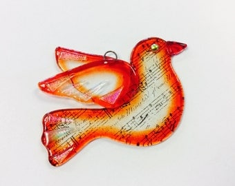 Fused Glass Christmas Ornament/Suncatcher (Dove in Red)