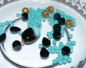 Vintage Black Turquoise Glass Bead Necklace Kit #kit27