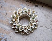 FREE SHIPPING Vintage Flower Brooch Pin Multicolored Rhinestone