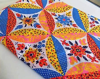 Vintage Cotton Floral Flower Fabric with Bright Colors and Bold Pattern