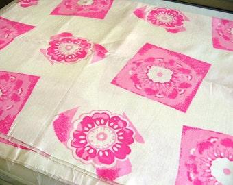 Vintage Cotton Floral Block Print Fabric - 1.9 yards