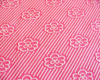 Pink Thick Knit Polyester Floral Fabric - 2.47 yards