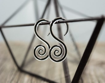 14G | Captured Raven | Mini Spiral Hoops | Gauged Glass Body Jewelry for Stretched Piercings by Glassheart