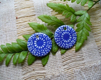 Enameled Copper Earring Pair by Catalinaglass  SRA Blue and White Lace