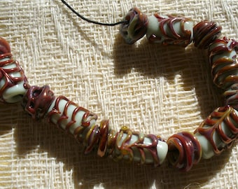 Lampwork Glass Beads by Catalinaglass SRA  Coppery Spirals