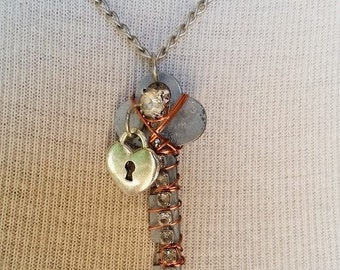 Repurposed Key Pendant with Rhinestones and Silver Heart Lock Charm