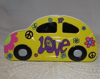 Vintage Bright Yellow VW Volkswagen Beetle Love Bug Tin, 1997, storage container, collectible, flower power
