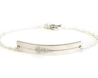 Custom heartbeat or soundwave bracelet for new mom, anniversary, wedding and more! Perfect gift for her.