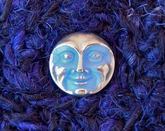 Blue Moon Goddess Handmade Silk Basket with Embellished Lid - Celestial Tapestry Art Basket - Unique Shelf Decor Basket Gift for Her STB012